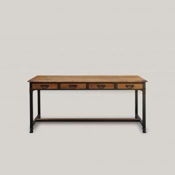 Table industrielle en chêne et structure métal